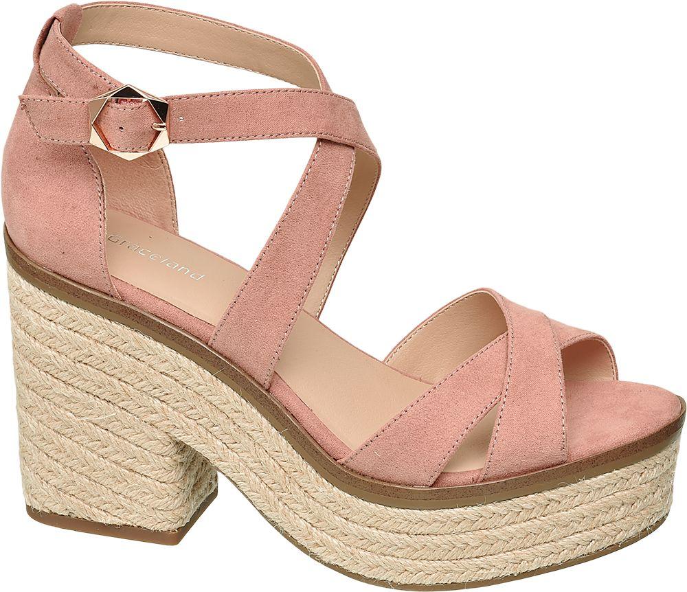 różowe sandały damskie Graceland na platformie