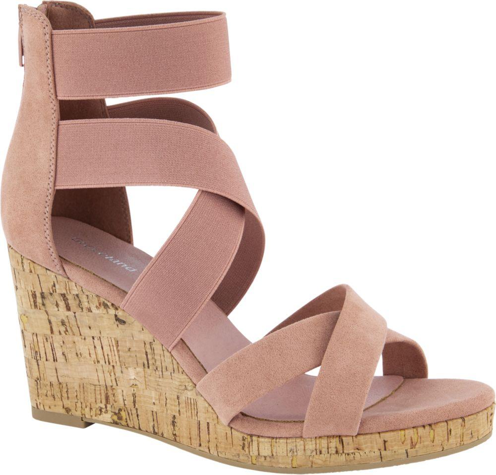 różowe sandały damskie Graceland na wysokiej koturnie