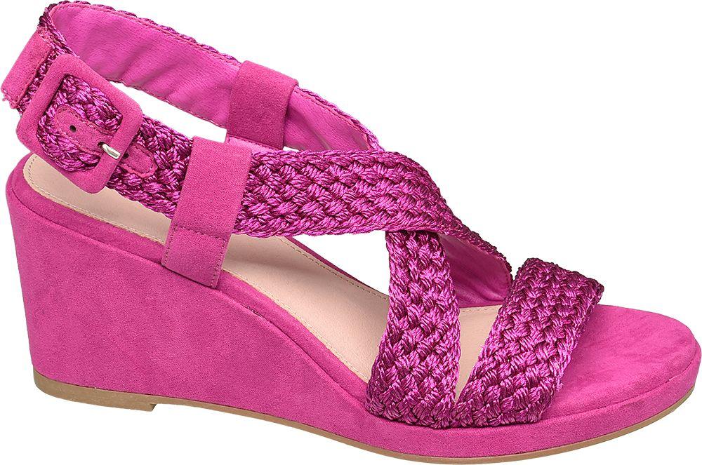 różowe sandały damskie Star Collection na koturnie