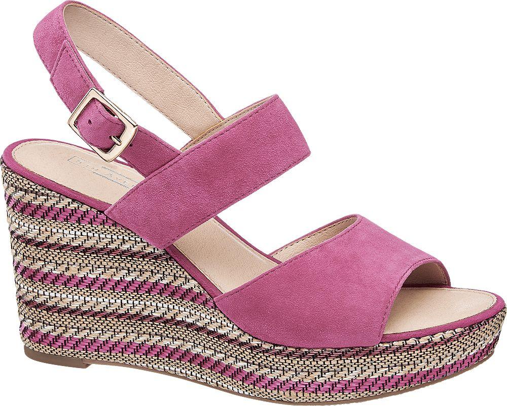 różowe sandały damskie 5th Avenue na koturnie