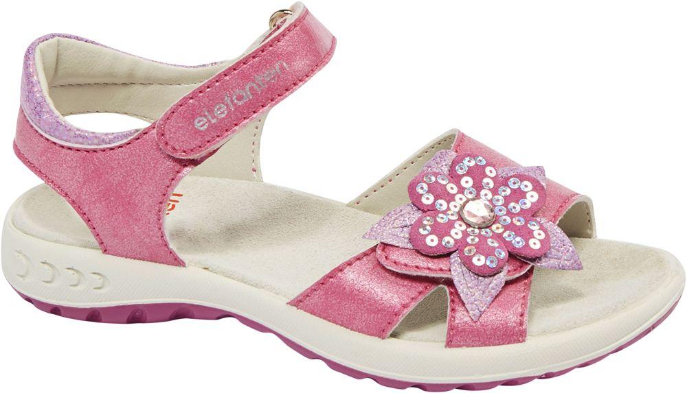 różowe sandały dziewczęce Elefanten ozdobione kwiatkiem, tęgość M