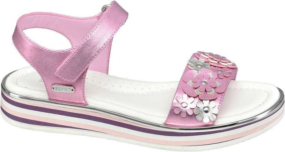 różowe sandały dziewczece Esprit ozdobione kwiatkami