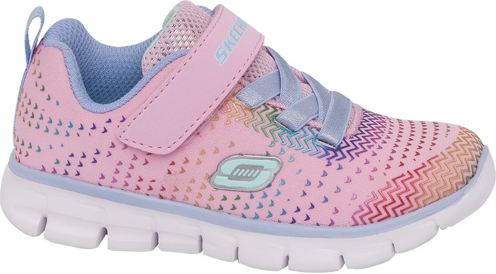 różowe sneakersy dziewczęce Skechers z zapięciem na rzep