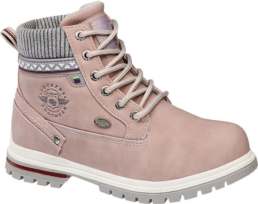 różowe trapery dziecięce Dockers z popielatą wstawką