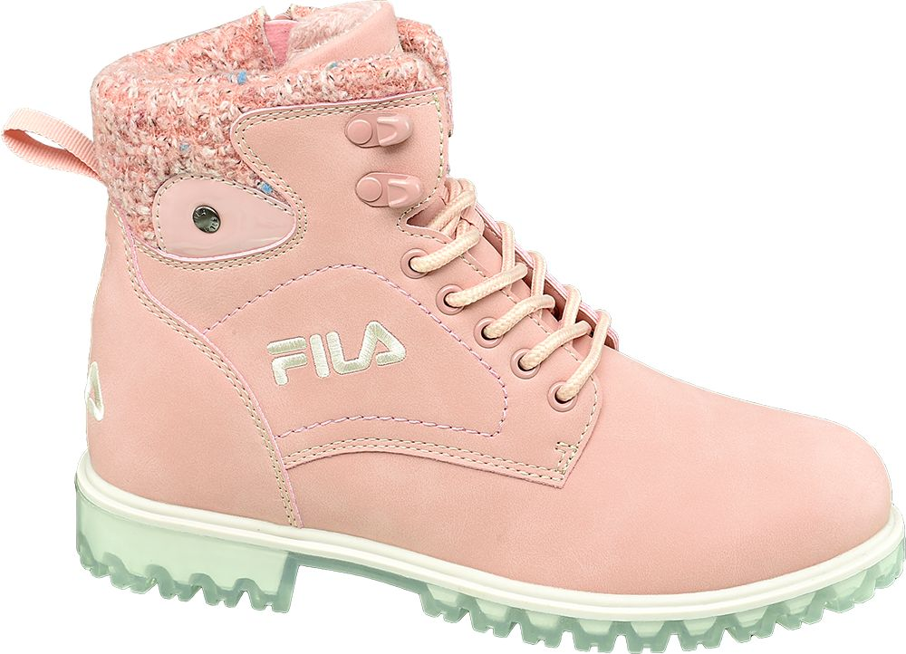 różowe trapery dziewczęce Fila na miętowej podeszwie