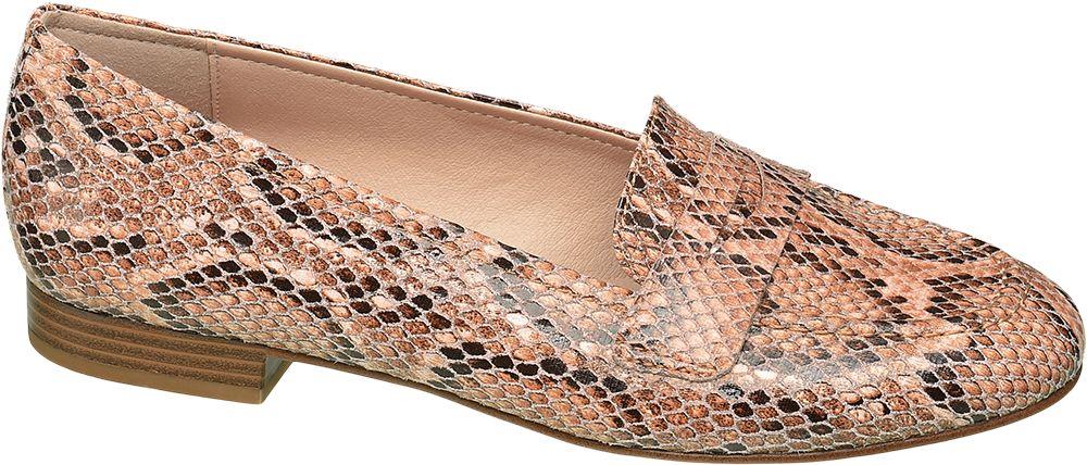 różowo-czarne lordsy damskie Graceland w wężowy wzór
