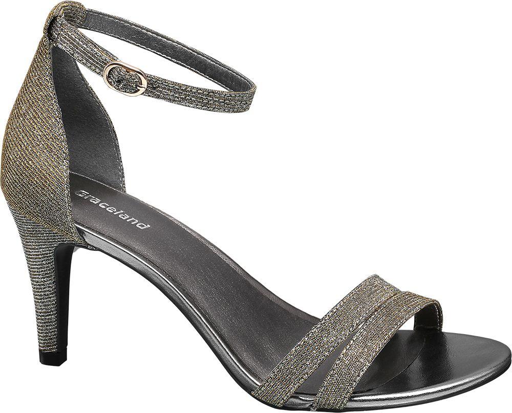 Sandały na obcasie Graceland srebrne