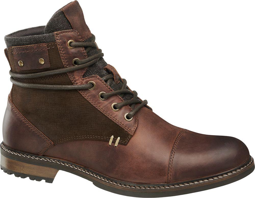 skórzane buty męskie na zime Am Shoe zapinane na zamek