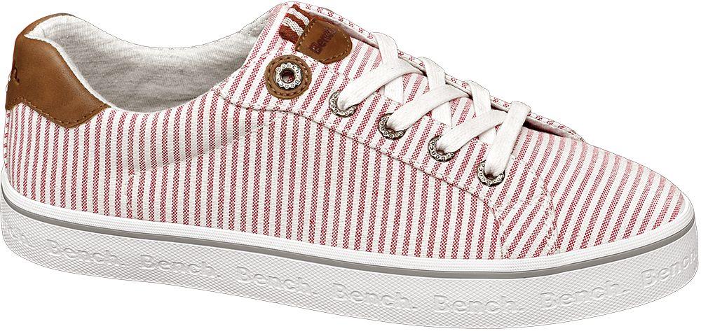 sneakersy damskie Bench w biało-czerwone paski
