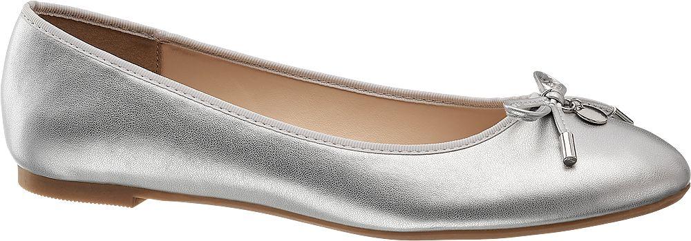 srebrne baleriny damskie Graceland z kokardką