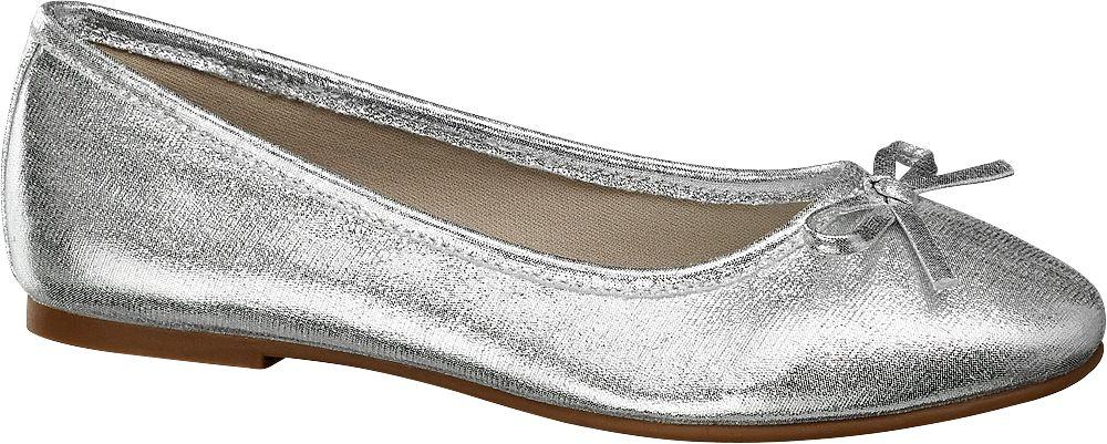 srebrne baleriny dziewczęce Graceland z kokardką
