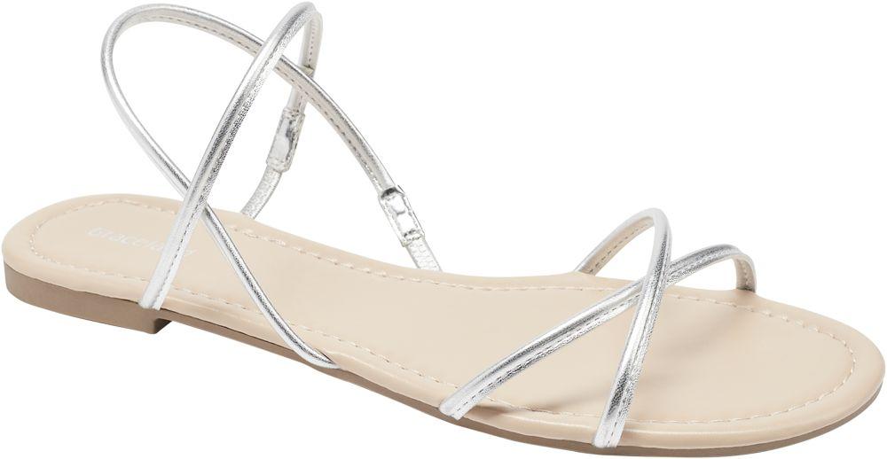 srebrne płaskie sandaly damskie Graceland