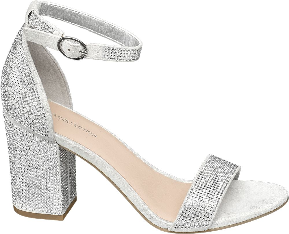 srebrne sandałki damskie Star Collection na obcasie