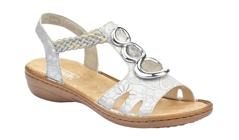 srebrne sandały damskie Rieker na wygodnym obcasie