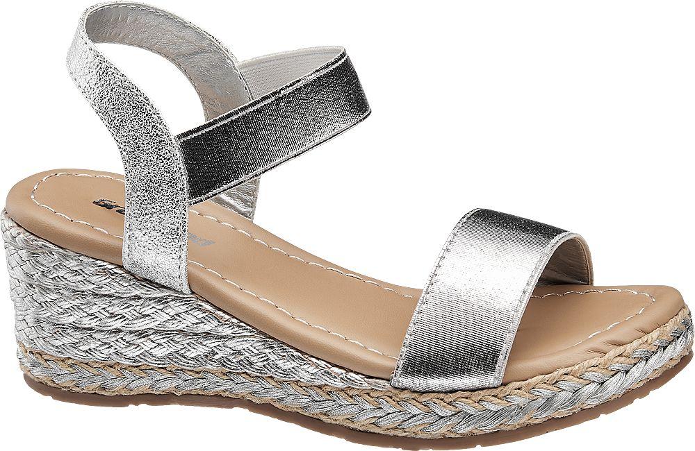srebrne sandały dziewczęce Graceland na koturnie