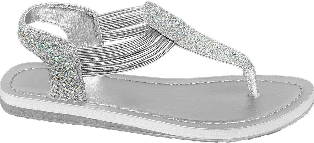 srebrne sandały dziewczęce Graceland typu japonki