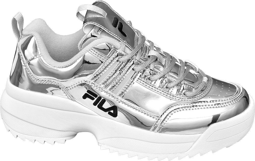 srebrne sneakersy damskie Fila na białej podeszwie