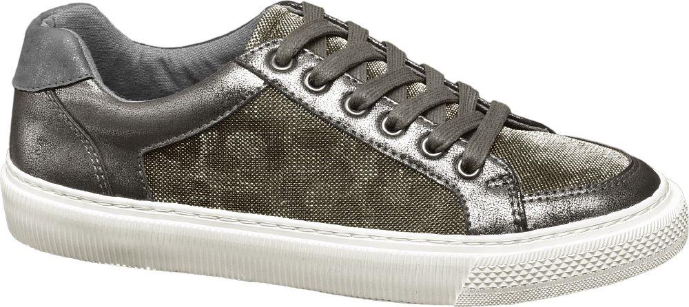 srebrne sneakersy damskie Graceland na białej podeszwie