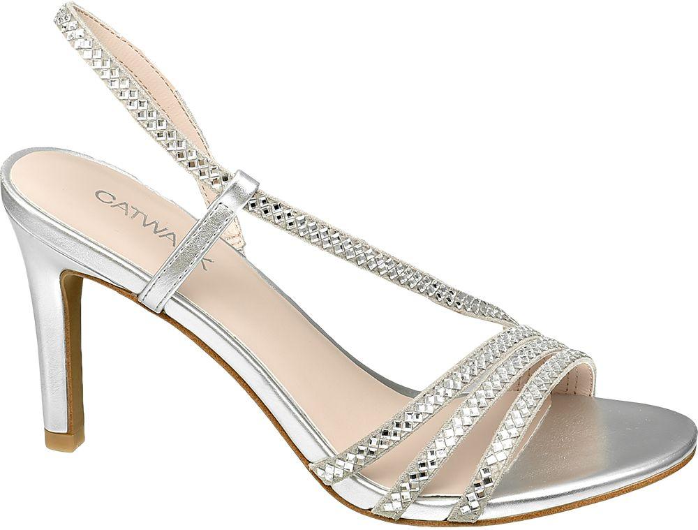 srebrne szpilki damskie Catwalk wysadzane cyrkoniami