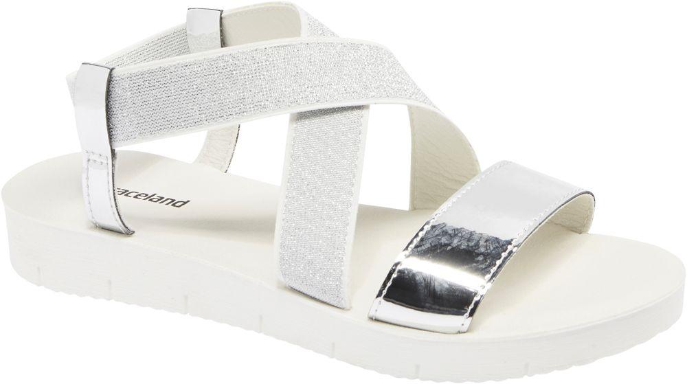 srebrno-białe sandały damskie Graceland
