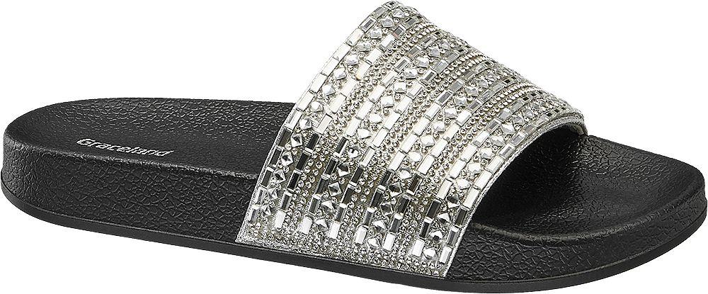 srebrno-czarne klapki damskie Graceland