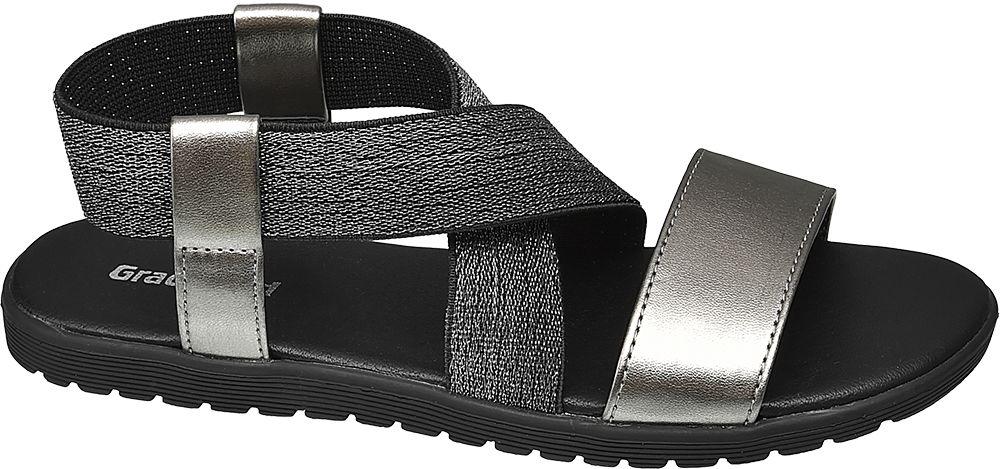 srebrno-czarne sandały dziewczęceGraceland z elestycznymi paskami