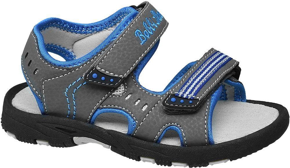 szare sandały chłopięce Bobbi-Shoes zapianane na rzepy