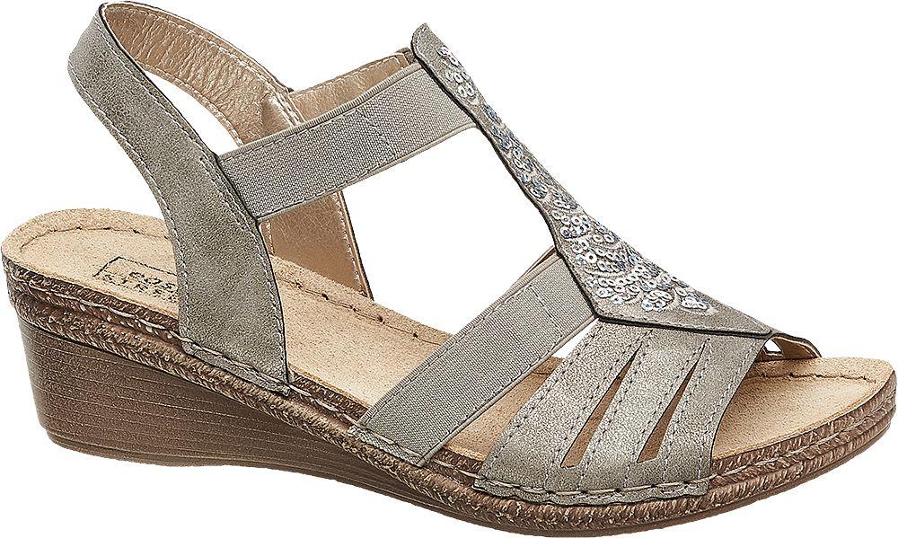 szare sandały damskie Easy Street na koturnie
