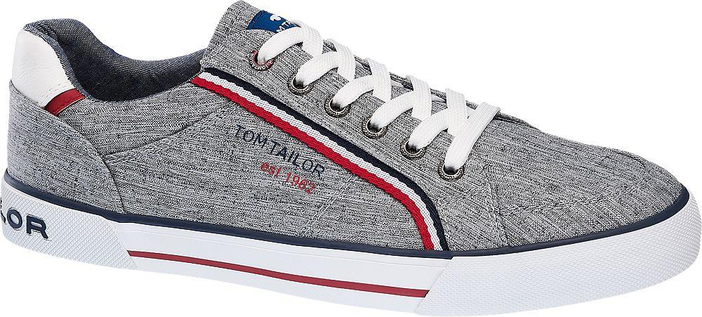 szare sneakersy męskie Tom Tailo czerwonymi akcentami