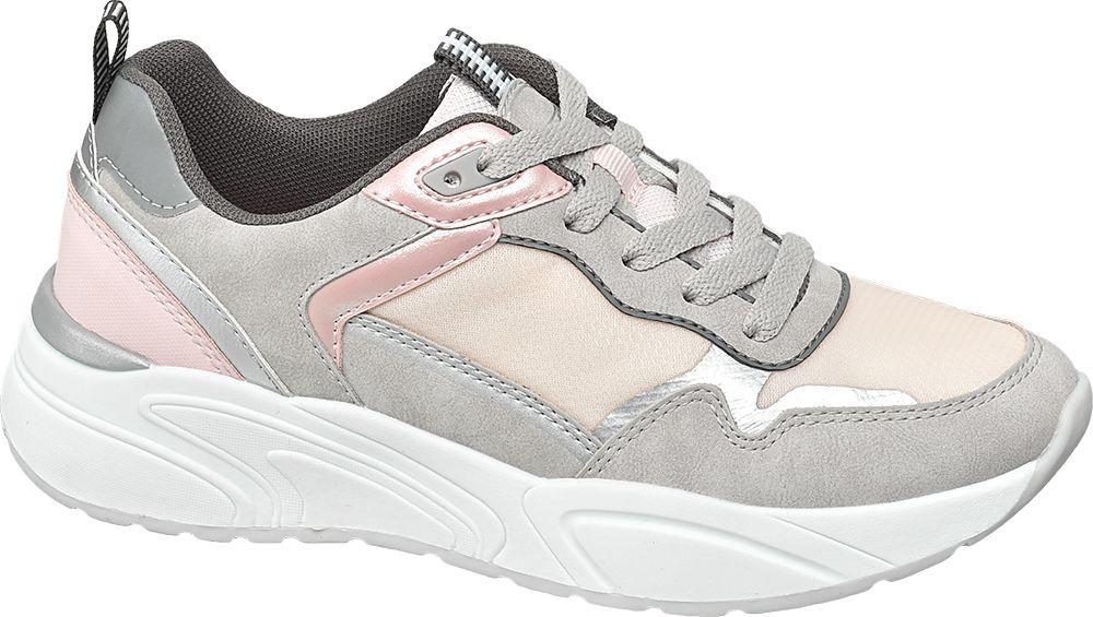 szaro-srebrne sneakersy damskie Graceland na grubej podeszwie