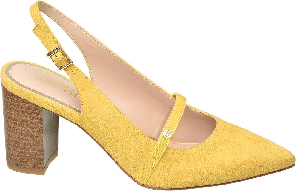 żółte czółenka damskie Esprit na brązowym obcasie
