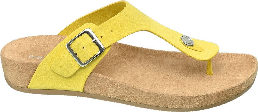żółte klapki damskie Graceland na grubej podeszwie