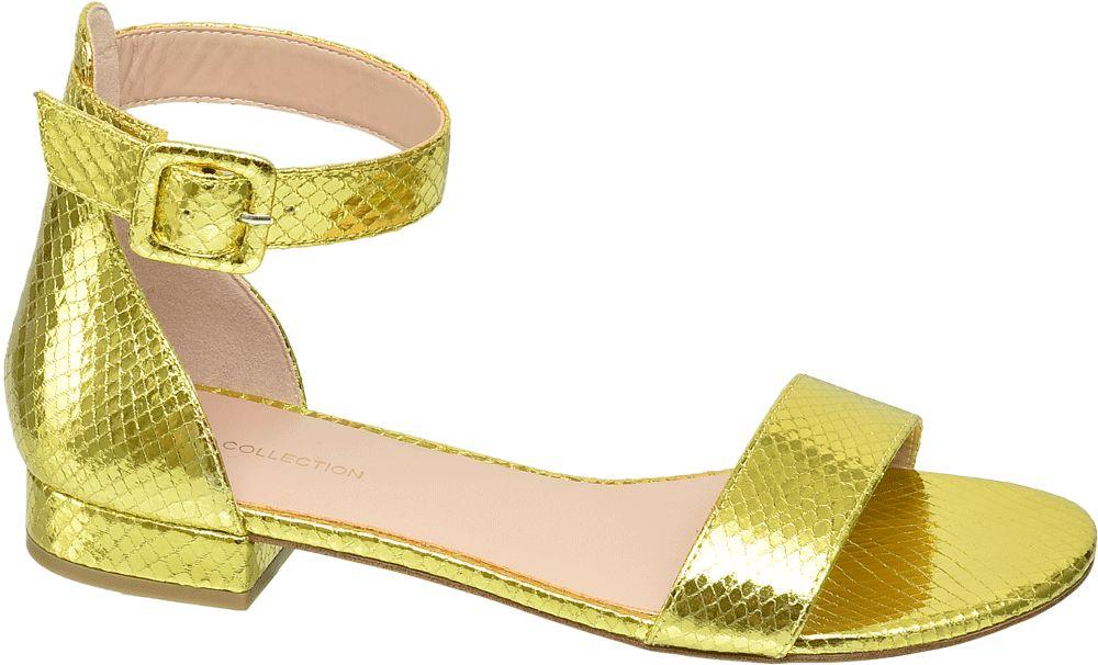 żółte metaliczne sandały damskie Star Collection