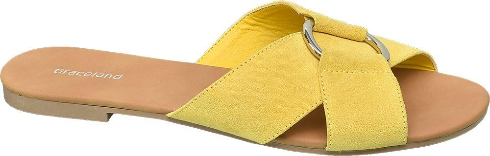 żółte płaskie klapki damskie Graceland