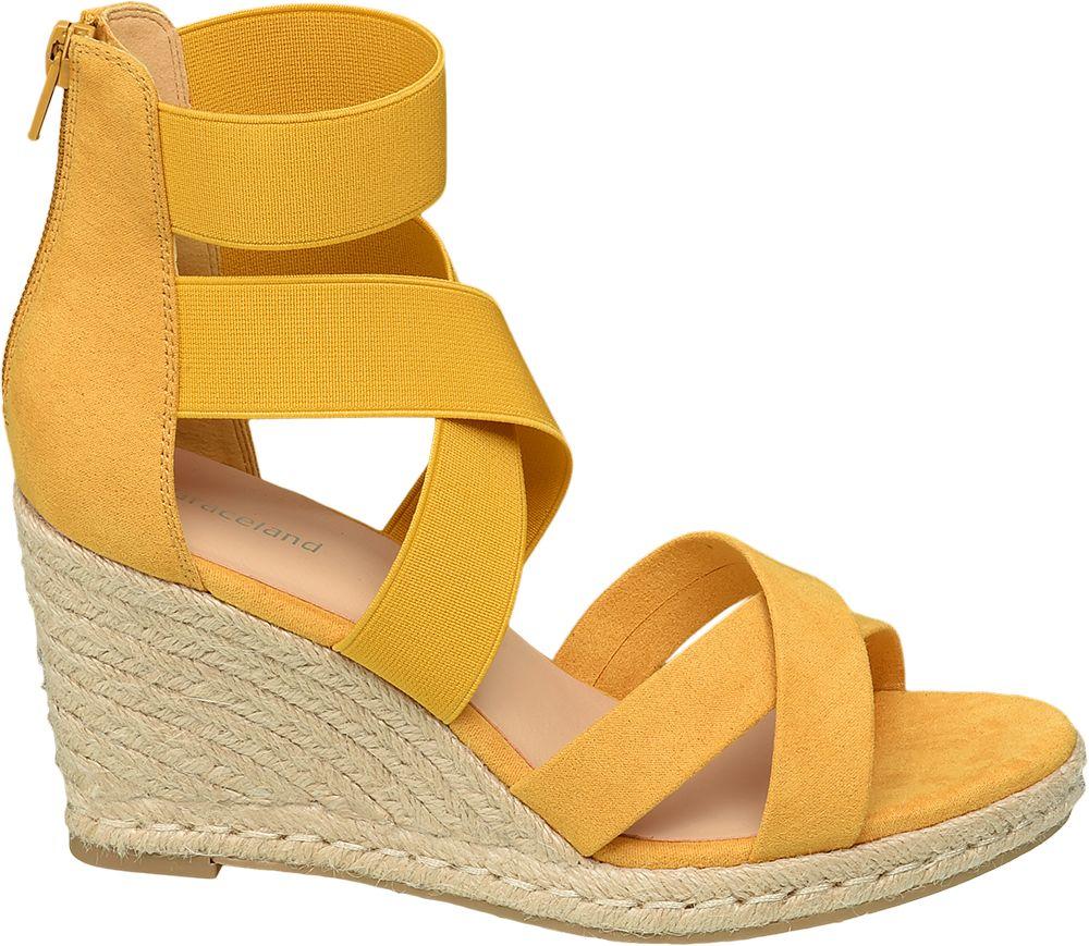 żółte sandały damskie Graceland na koturnie
