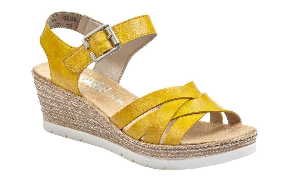 żółte sandały damskie Rieker na koturnie