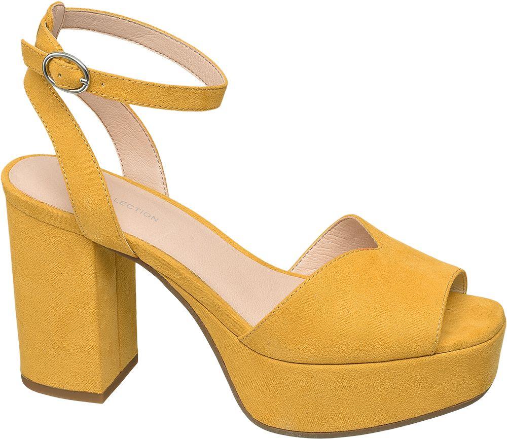 żółte sandały damskie Star Collection na maywnym obcasie