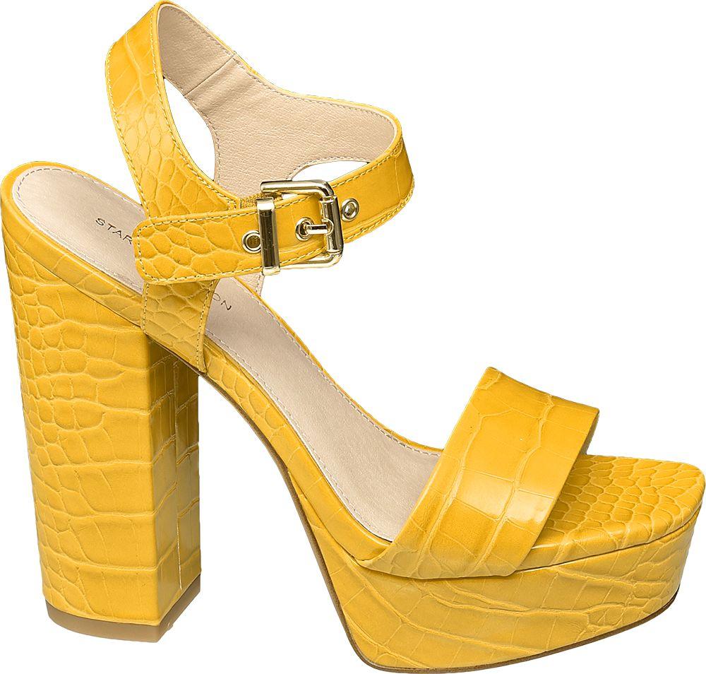 żółte sandały damskie Star Collection na obcasie