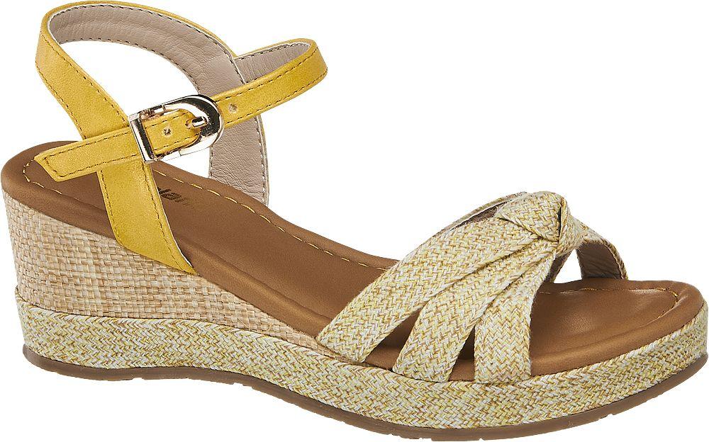 żółte sandały dziewczęce na koturnie