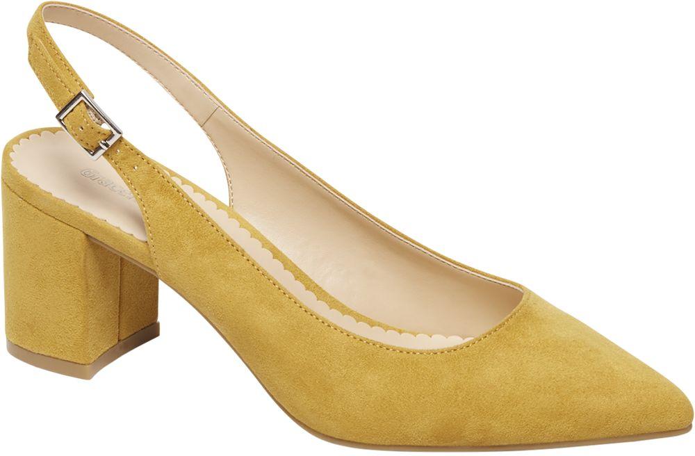 żółte czółenka damskie Graceland z odkrytą piętą