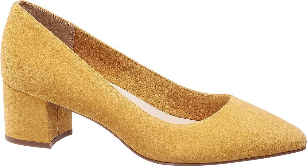 żółte zamszowe czółenka damskie 5th Avenue