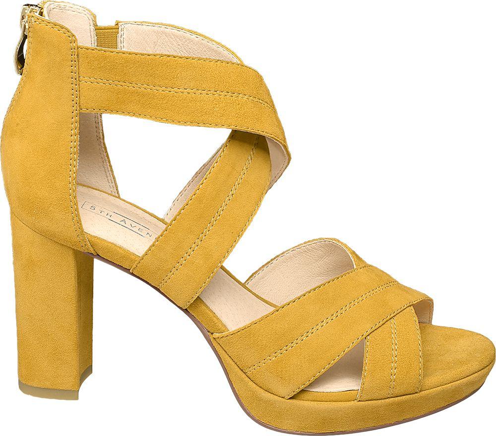 żółte zamszowe sandały damskie 5th Avenue na obcasie