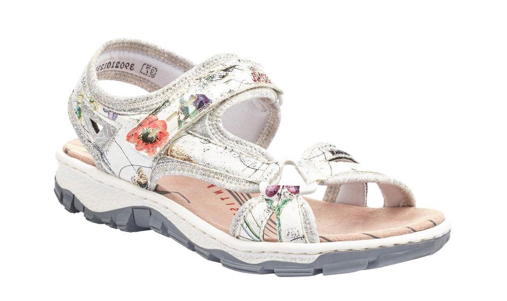wygodne sandały damskie Rieker we wzór w kwiatki