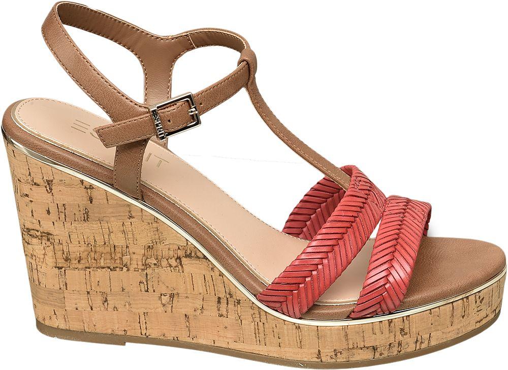 wysokie sandały damskie Esprit na koturnie