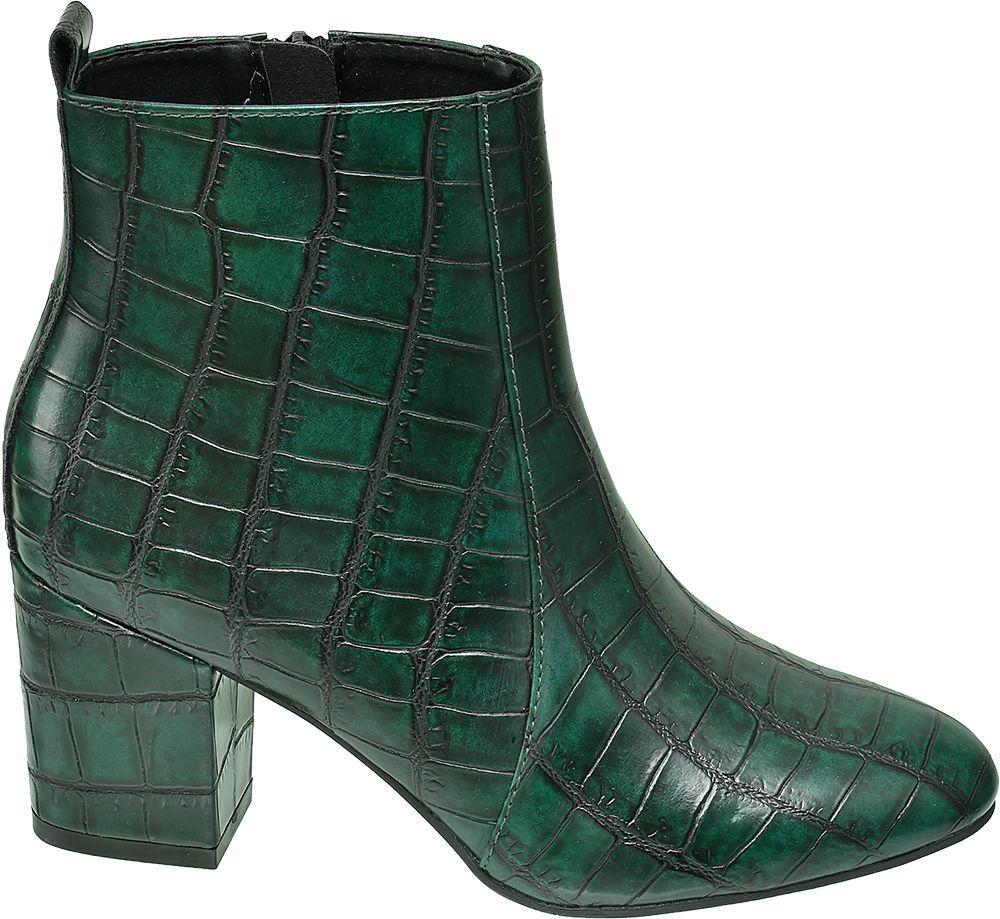 zielone botki damskie Graceland we wzór skóry krokodyla
