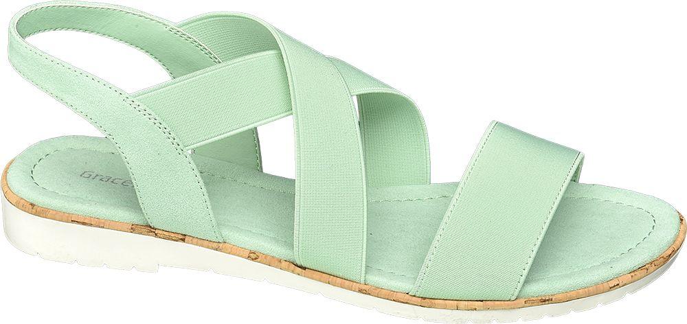 zielone płaskie sandały damskie Graceland