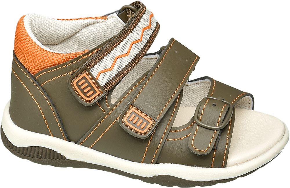 zielone sandałki chłopięce Bobbi-Shoes zapinane na rzepy