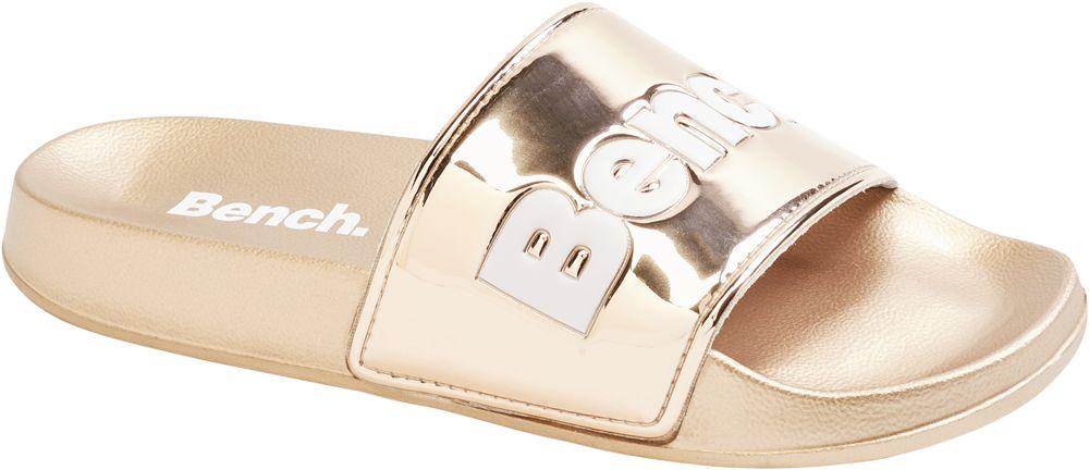 złote klapki damskie Bench z białym logo