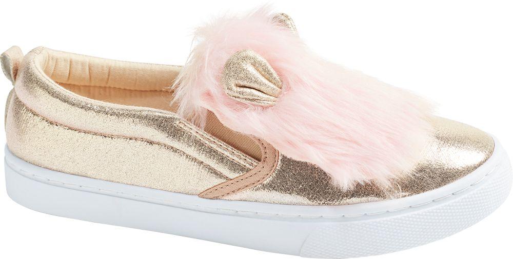 złote tenisówki dziewczęce Cupcake Couture z różowym futerkiem