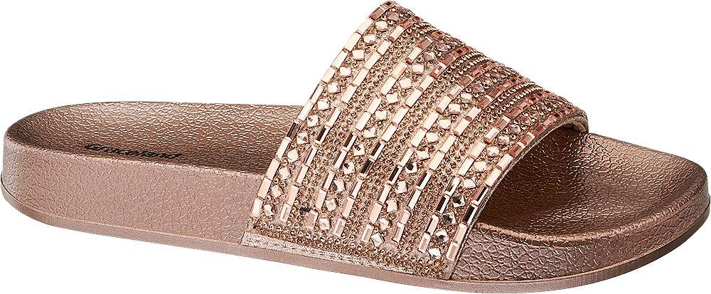 złoto-miedziane klapki damskie Graceland
